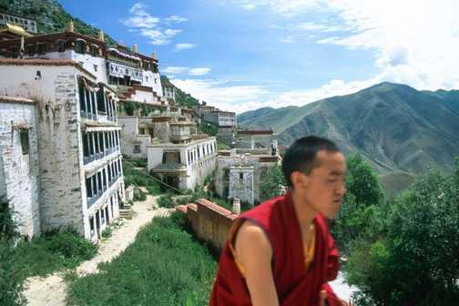 Monks at Ganden monastery