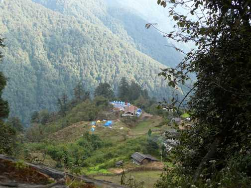 Back down to Tsokha Campsite - view from above