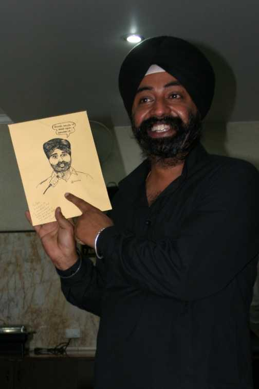 Tour guide Balvinder with drawing I did for him