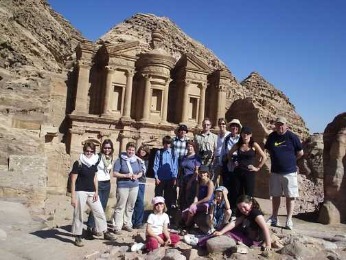 Group at the Monastery, Petra