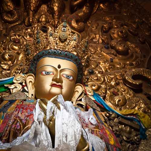 Warming yak butter candles, Drepung Monastery