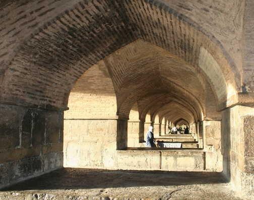 Esfahan - view across dry river under Khaju Bridge