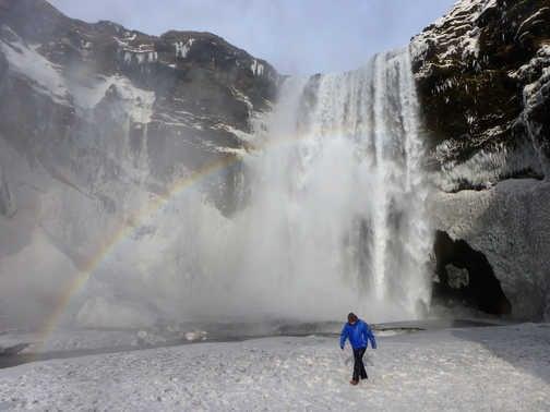 Rainbow at Seljalandsfoss Waterfall
