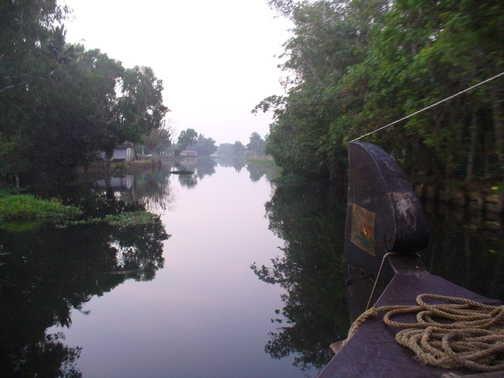 Dawn on boat