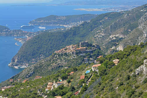 View down to the village of Eze with Beaulieu-sur-Mer, Villefranche-sur-Mer and Nice beyond.