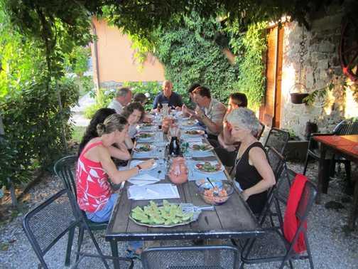 Enjoying dinner at Braccicorti farmhouse