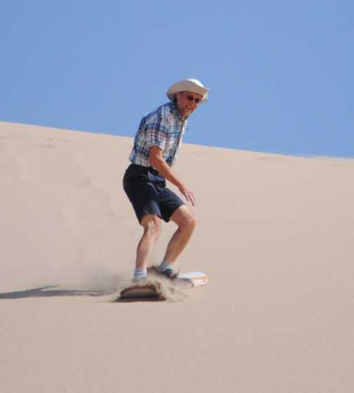 Well I'm more used to boarding on snow, than this sand dune thing