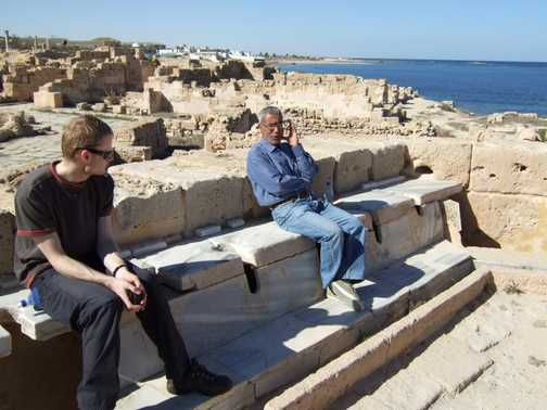 Colin and Mr Youssef on the Roman Loo