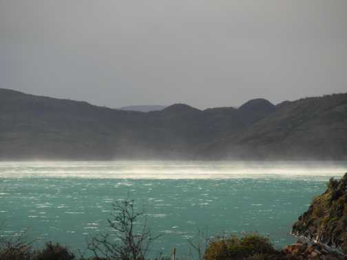 Spray lifted off lake beside Camino de los Vientos