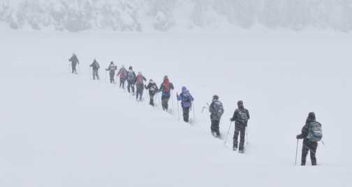 Crossing the Prader Wildersee in blizzard