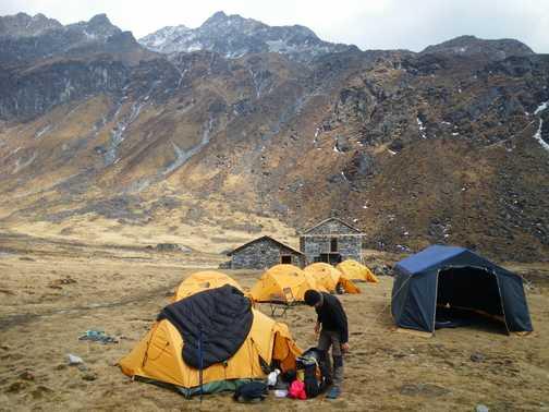 2/4 Camp at Chanbu Kharka (4,200m) - a very cold place