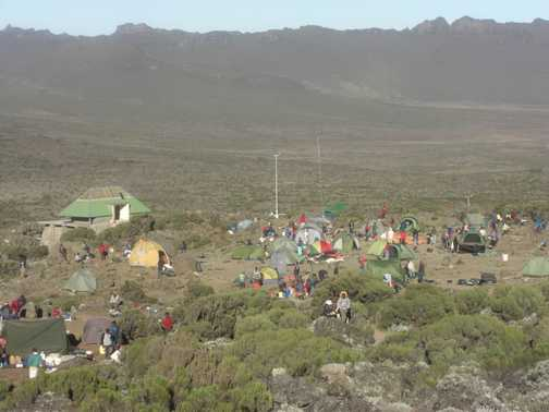 The hustle & bustle at Shira 2 camp