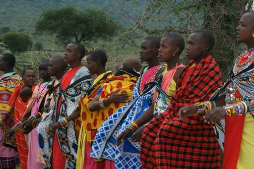 Masai women sing for us during a visit to their village.