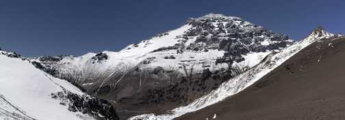 Aconcagua West Face, Base camp is the set of dots beside the black rocks at the bottom