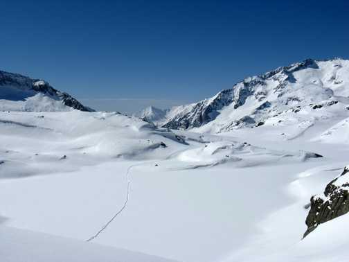 Tracks across a frozen lake