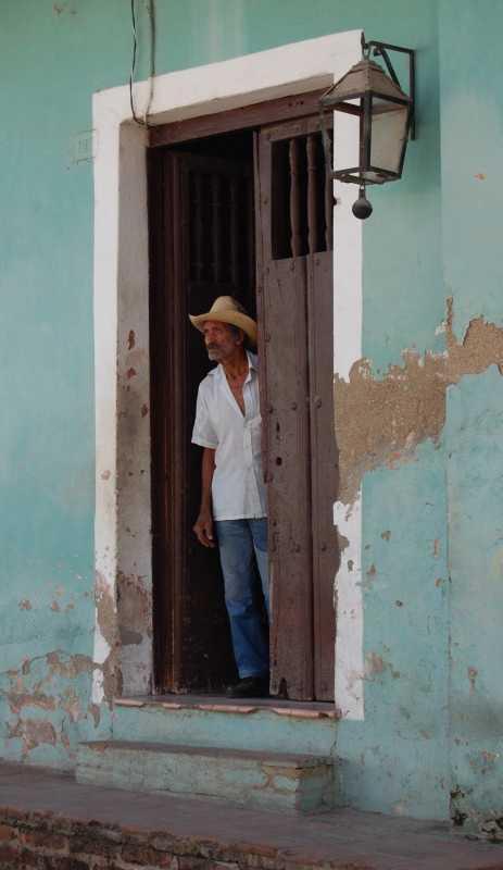 Old man in doorway