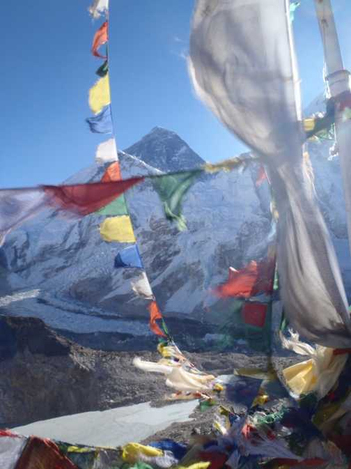 The summit of Kala Pattar at 5,545 metres with a stunning Everest view