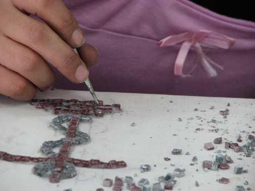 Making mosaics in Madaba