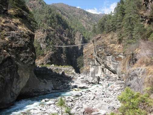 Dudh Kosi valley...and yes you cross the bridge.