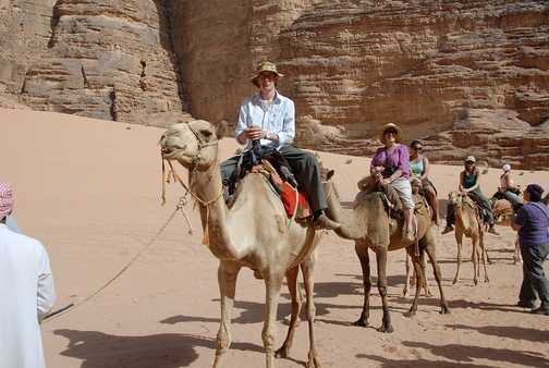 Camel ride out of Wadi Rum