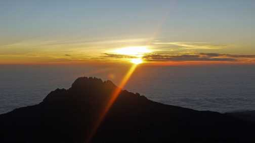 Day 7. Sunrise above the clouds taken from the the 'roof of Africa'.