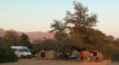 Camp in morning light at Brandberg