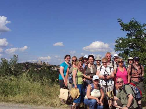 The Gang with San Gimingnano in the background