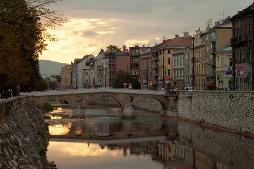 Latinska Bridge, Sarajevo as the sun goes down