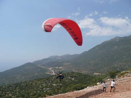 Taking off for a paraglide