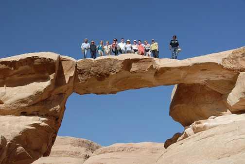 The group on the rock bridge