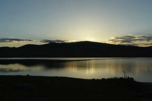 Sunset over Khairkhan Lake