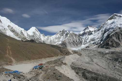 Gorak Shep tea house (trek up to Kala Pattar on the left and base camp far right)
