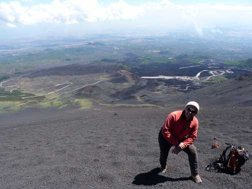 Mt Etna - our alpine guide shows us another quick way down!!