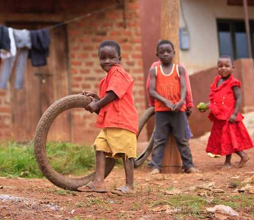 Kids in Uganda playing