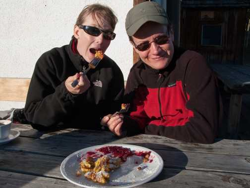 Scoffing Kaiserschmarren at the mountain hut... still ate the 5 course dinner back at the hotel too!