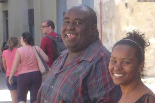 Happy, shiny people in Plaza de la Catedral, Habana Vieja.