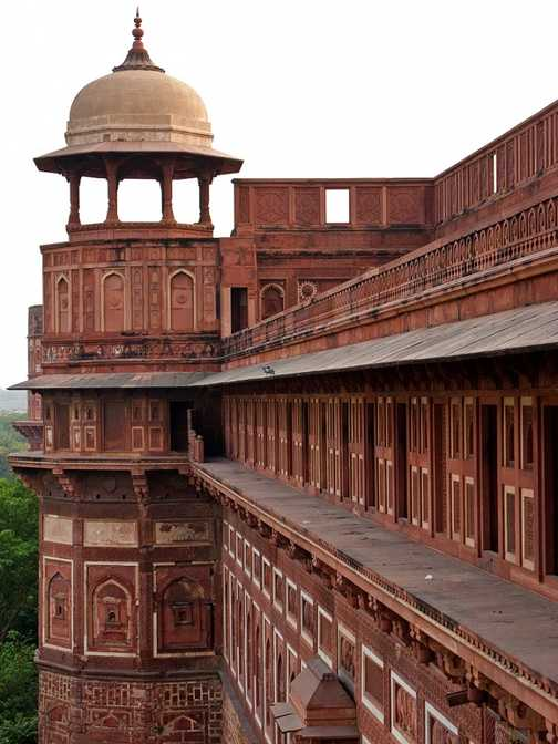 Enclosure walls and towers of Agra's Red Fort