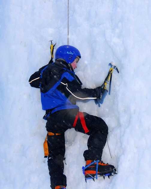 ice climbing on New Year's Eve
