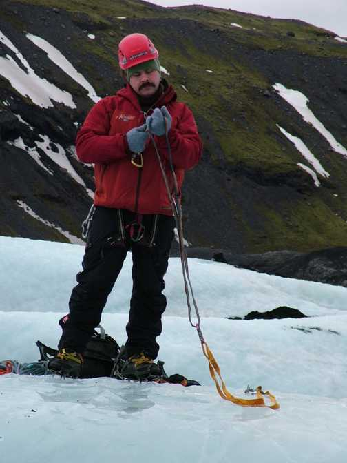 'Hoskey' - our ever patient group leader - preparing for ice climbing