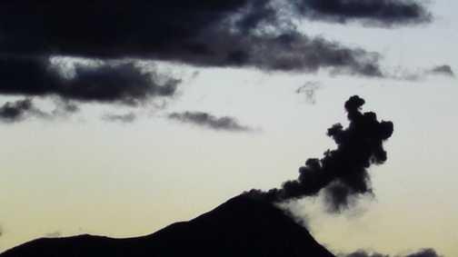Volcan fuego erupting in the distance