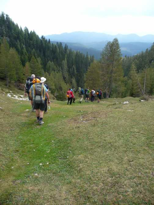 Day 6 - Leaving Blejska Koca Dom we walk out at the end of our circuit of the Triglav National Park