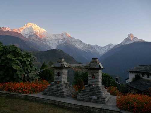 Annapurna and Fishtail at dawn from Himalaya Lodge