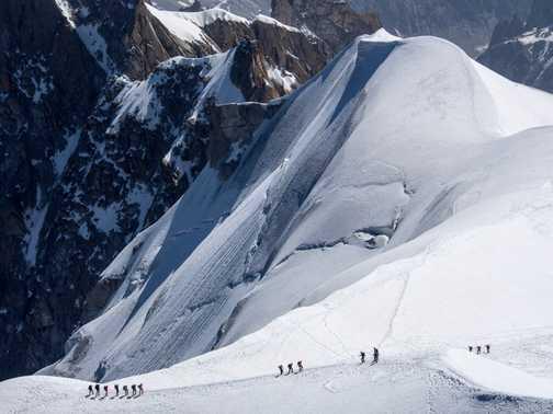 View of Les Bossons glacier and Chamonix from Aiguille du Midi telepherique