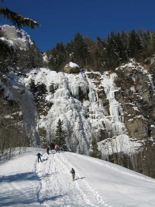 Heading up to see the frozen waterfall on the walk to Blausee.