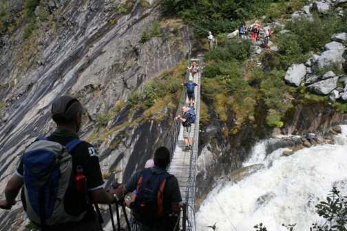 Bouncy bridge over glacial meltwater