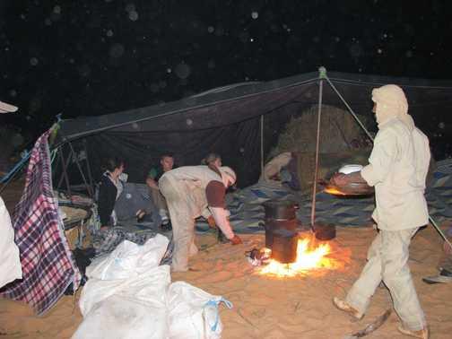 Dinner under bedoin tent