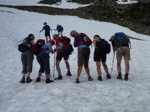 wet bums after sliding down from Mt Brevent