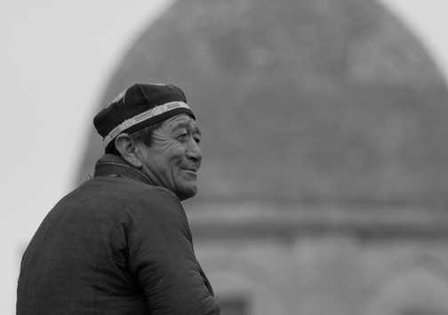 Happy man outside Tamerlan's mausoleum in Samarkand