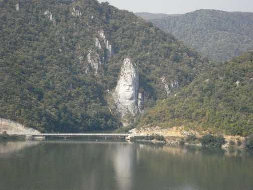 Face in rock in Romania