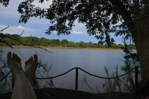 bathing at Ngepi camp
